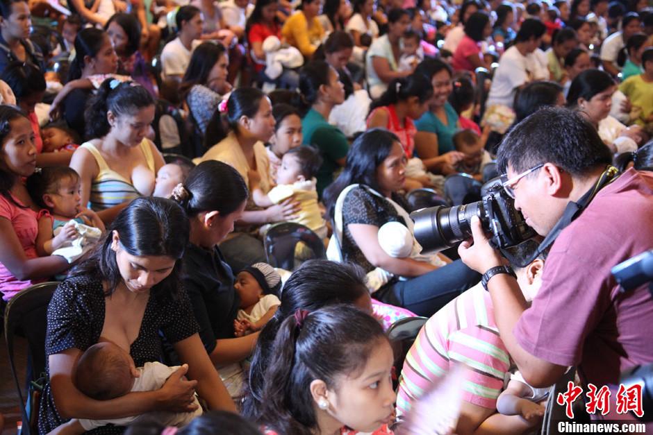 菲律宾妈妈集体哺乳 欲创吉尼斯纪录 中新网