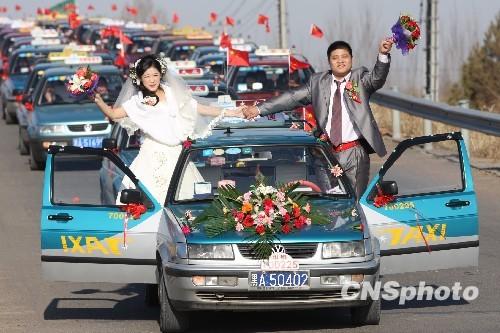 图:哈尔滨98台出租车组成结婚车队图片