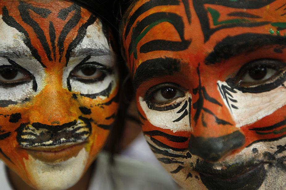 印度学生画脸谱呼吁保护野生动物