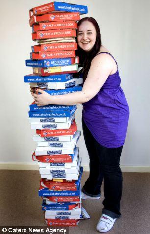 女生吃披萨生活照