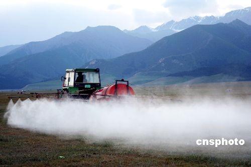 图:新疆生产建设兵团用生物方法灭草原蝗虫