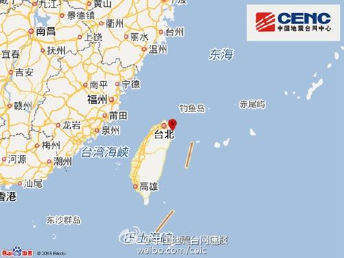 台湾宜兰县海域发生4.2级地震震源深度70千米