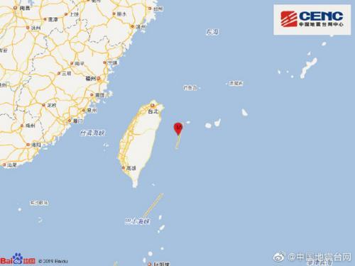 台湾花莲县海域发生5.1级地震震源深度16千米