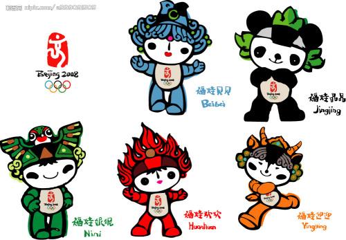 奥运形象景观:北京奥运会吉祥物福娃家庭