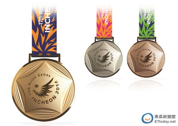 仁川亚运奖牌5角图腾象征城市特色背面印口号