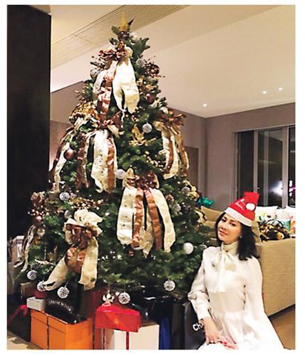 刘嘉玲豪宅内景图片_刘嘉玲曝光豪宅内景 精心打扮坐圣诞树旁(图)
