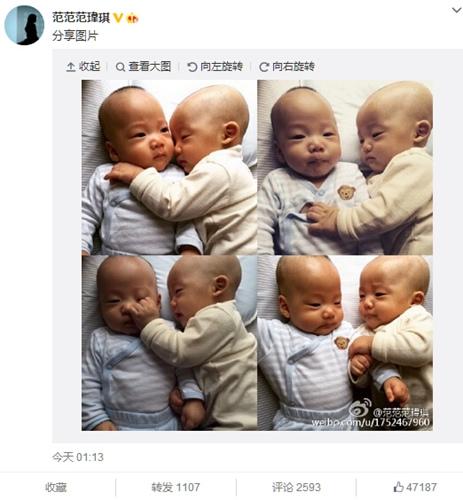 范玮琪晒双胞胎4连拍网友:终于知道对方的存在