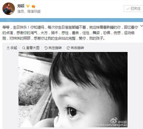 邓超为儿子庆生爱子侧脸帅照曝光(图)
