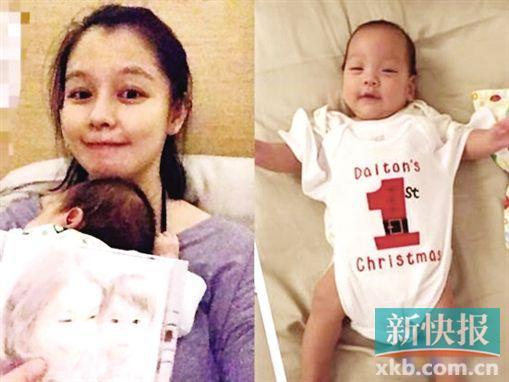 徐若�u产后坚持复健为孩子披婴儿服拍照(图)