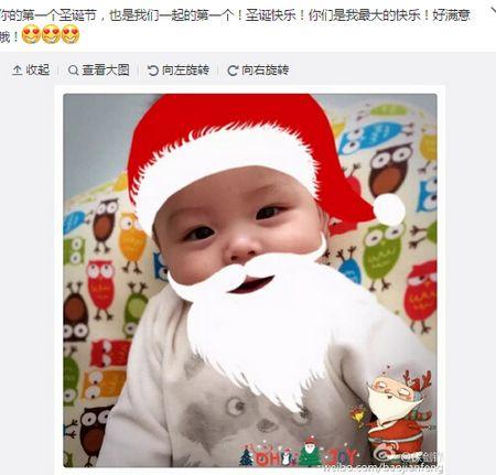 """[明星爆料]保剑锋爱子被PS成""""圣诞老人"""" 造型呆萌(图)"""