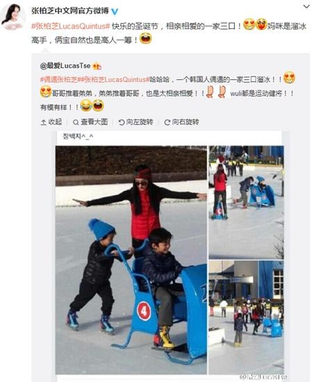 张柏芝带两个儿子滑冰 兄弟俩互相推画面有爱(图)
