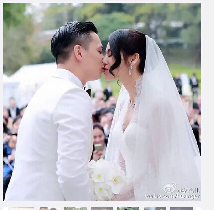 [明星爆料]胡杏儿晒大婚现场照 与老公热吻秀对戒(组图)