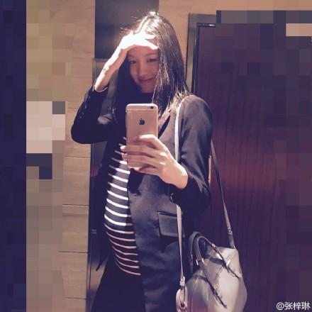 张梓琳挺大肚晒自拍网友:素颜还这么美(图)