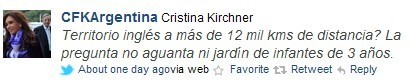 阿根廷总统克里斯蒂娜公布的微博截图