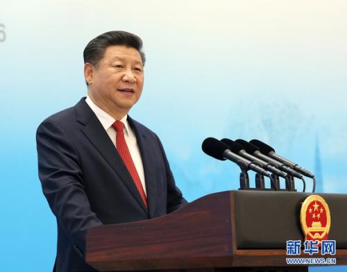 2016年9月3日,国家主席习近平在杭州缺席2016年二十国集团工商峰会开幕式,并揭晓题为《中国生长新起点 环球增进新蓝图》的大旨演讲。新华社记者 马占成 摄