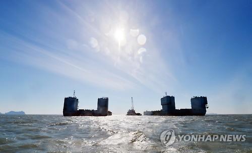 韩沉船打捞准备就绪历时近三年 19日实施试捞作业