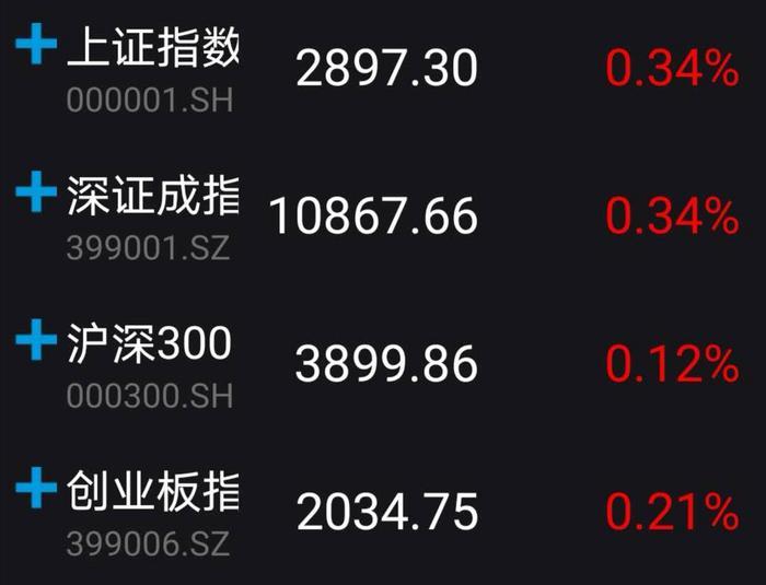 A股小幅高开:沪指涨0.34%报2897.30点
