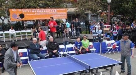 旧金山中国城乒乓球赛开赛多位华裔官员捧场