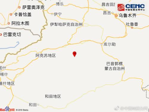 新疆阿克苏沙雅县发生4.2级地震震源深度16千米
